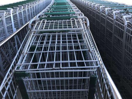 Group of Shopping Carts Aligned. Photo image