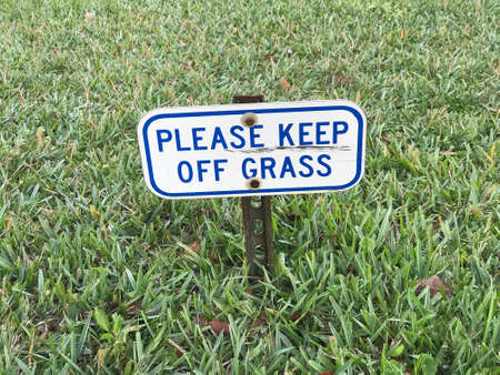 Please Keep off Grass Sign. Photo image