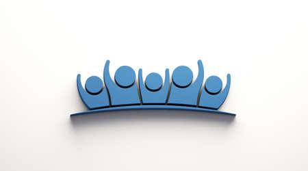 Family Teamwork Five People. 3D Blue color render illustration