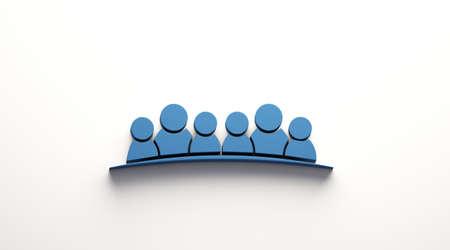 Six People Friends. illustration. 3D Blue color render illustration