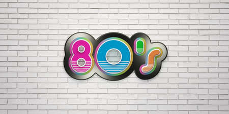 80s Party on white brick wall banner. 3D Render Illustration