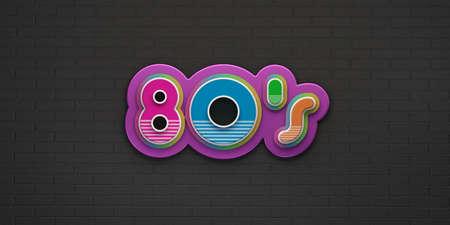80s Party on black brick wall banner. 3D Render Illustration Stok Fotoğraf