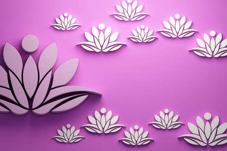 Lotus flower background. 3D Render Illustration