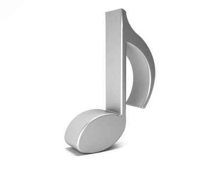 white Musical Note isolated in white background. 3D rendering illustration