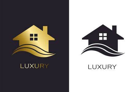 Real Estate House with Waves Logo for Business Çizim