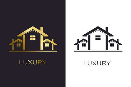 Real Estate Houses Luxury Logo for Business Çizim