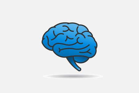 Einfache Linien und Kurven des Gehirn-Logos. Vektordesign