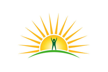 Winner People in sunshine morning logo. Hope and strength concept Vectores