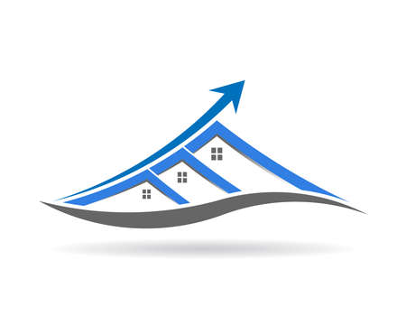 Houses arrow improvement and upgrade. From small to large. Logo Vector design