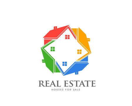 Real Estate Group of Houses. Colorful houses in circle. Real Estate Logo search of properties. Network of houses concept