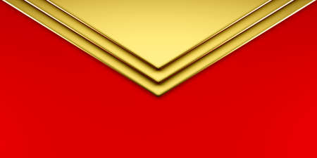 envelope style golden red geometric paper with copy space for business card