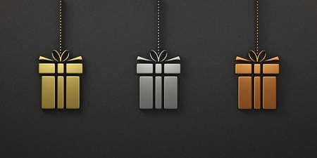 Beautiful Set of Christmas gift box ornament gold silver bronze, 3D Render Illustration Stok Fotoğraf