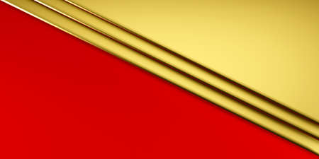 Beautiful gold red envelope like geometric paper business or christmas background. 3D Render illustration
