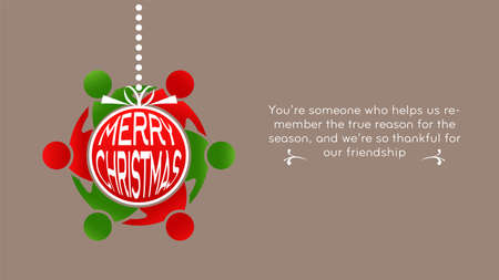 Merry Christmas Ornament with elfs around with mesage text. Holidaty Card