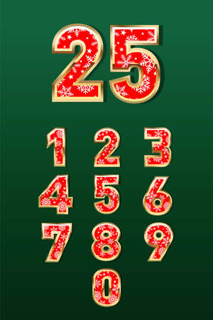 Christmas Numbers in gold and red color with snowflake details in green background