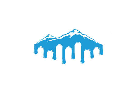 Global Warming Mountain Glaciers Melting Logo