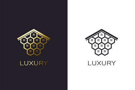Beehive House Logo creation concept. Real estate image