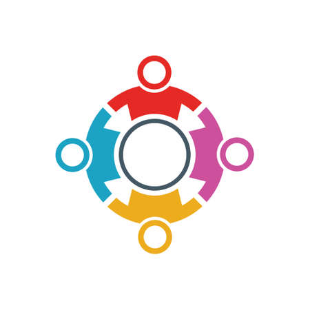 People activity and creativity together in round logo design
