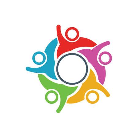 People Connection community network people logo design Illustration