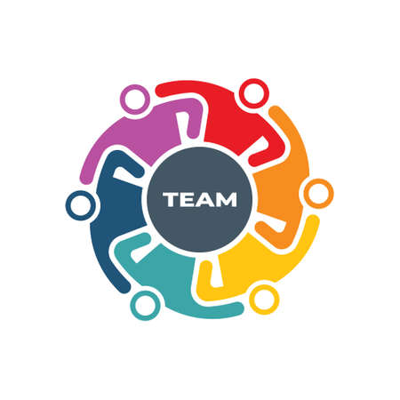 Teamwork People Group Holding in Arms because of hard Work in the making logo design Illustration