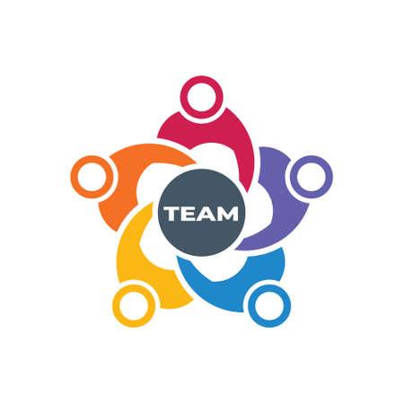 Teamwork People Creativity Work in the making logo design Illustration