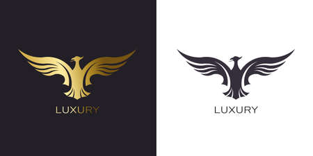 Phoenix Gold Rising Logo stylized golden firebird