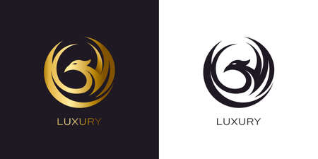 Phoenix Gold in circle logo stylized golden flying bird Stock Illustratie