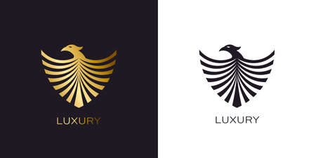 Phoenix Gold shield logo stylized golden flying bird Stock Illustratie