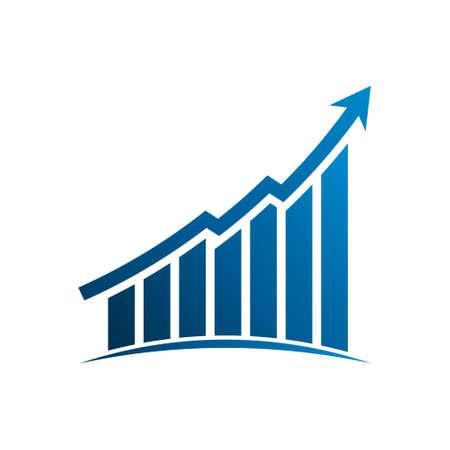 Finance graphic bars up profit arrow. Vector Illustration Design