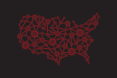 America Virus Propagation Map Community Spreading Controlling Virus Prevention Campaign