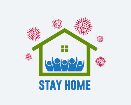 Stay home initiative to prevent spread of coronavirus infection logo design