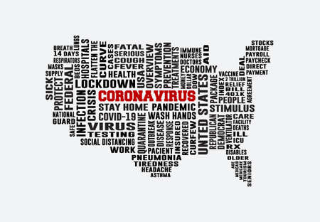 United States Coronavirus Word Cloud Map. America Coronavirus Map filled with Letters. Cover Banner Background