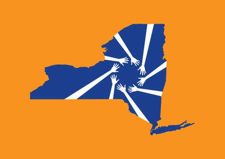 United states New York Helping Hands Map Illusztráció