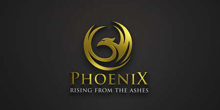 Phoenix Gold company slogan. Rising from the ashes luxury symbol and business. 3D Rendering illustration isolated on black background