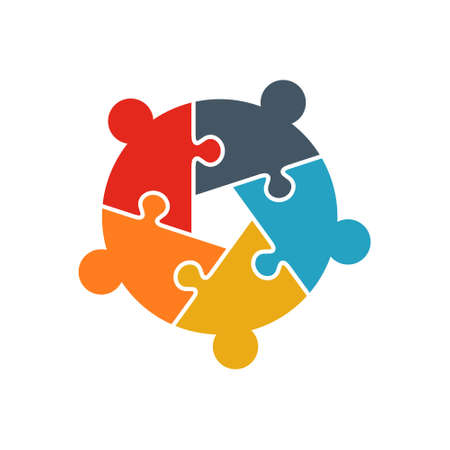 Teamwork People jigsaw puzzle five person pieces logo. Team Building concept. People business group