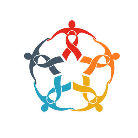 Teamwork of five ribbon people logo. People group going strong concept of support and community Ilustrace