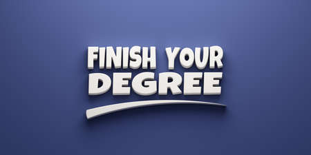 Finish your degree Ad with swoosh in blue background