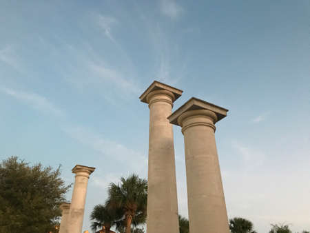 Columns Pedestal in open sky. Photo image