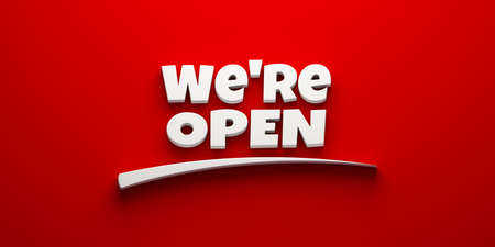 Were open on a red banner with swoosh. 3D Rendering illustration
