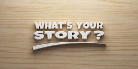 Whats your Story banner concept with mark. 3D Rendering Illustration
