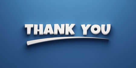 Thank you words banner concept with mark. 3D Rendering Illustration