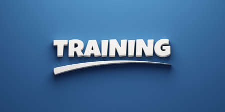 Training word banner concept with mark. 3D Rendering Illustration