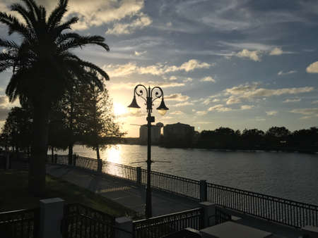 Uptown Altamonte Springs Florida Lakeside boardwalk sunset. Cranes root Park. Photo image