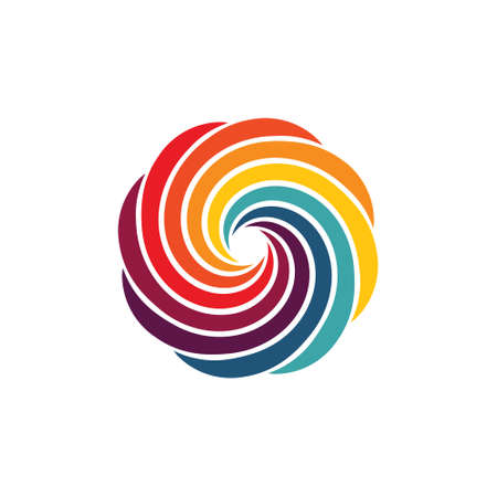 Swirly round vector design eight colors abstract Çizim
