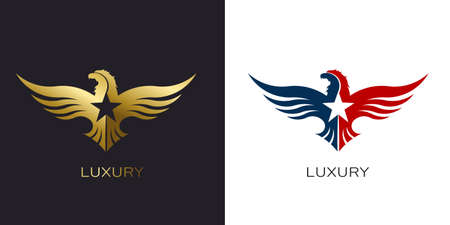 American Gold Eagle and Red White Blue Eagle Vector Logo