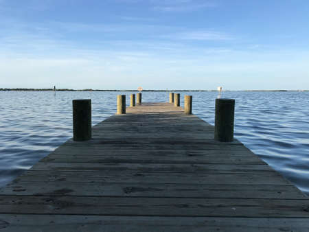 Small Pier on River in Cocoa Beach Fishing . Photo image
