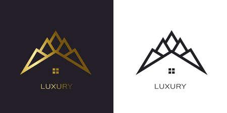 Gold peak house. Luxury style logo