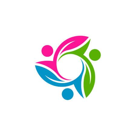 Thee Eco friendly people teamwork logo color Çizim