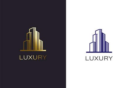Building construction gold color logo design template