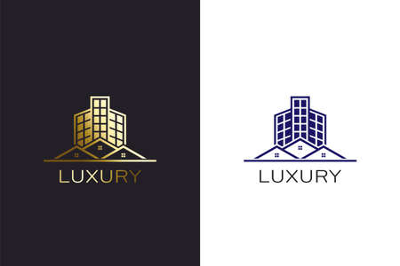 Building and Houses gold color  design template